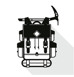 black flat backpack and axe icon with long shadow vector image vector image