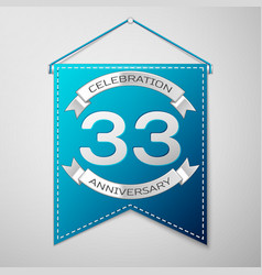 blue pennant with inscription thirty three years vector image