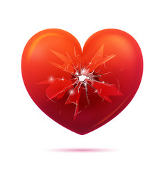 Broken glass heart concept vector