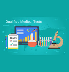 Business banner - qualified medical tests vector