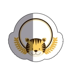 Color sticker circle with tiger head and olive vector