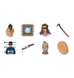 Crime and punishment icons in set collection for vector