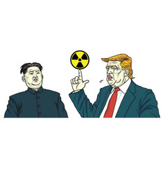 donald trump and kim jong un portrait vector image vector image