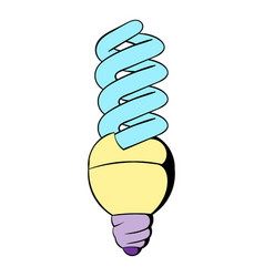 Energy saving lamp icon cartoon vector