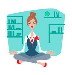 Female office worker meditating vector
