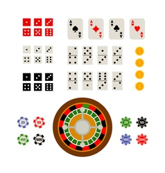 Flat top view set of gambling and casino items vector