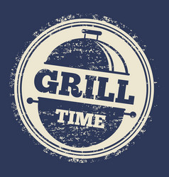 grill grunge label design on blue backdrop vector image vector image