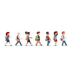Group of pupils mix race walking school children vector