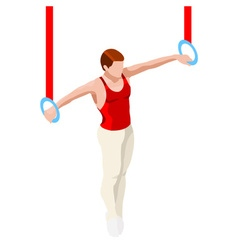 Gymnastics still rings 2016 sports 3d vector