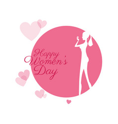 happy womens day girl with hearts vector image vector image