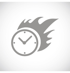 Hot clock black icon vector
