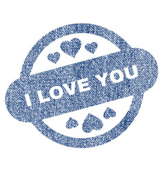i love you stamp seal fabric textured icon vector image vector image