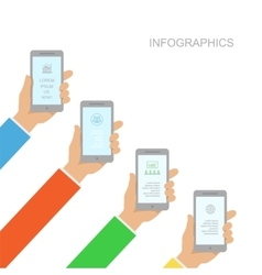 Infographics design with human hands holding vector image