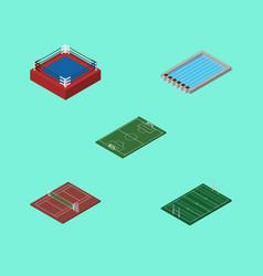 Isometric competition set of volleyball soccer vector