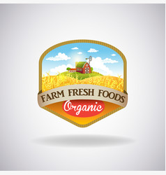 Label with the image of a farm vector