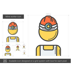 Mine worker line icon vector