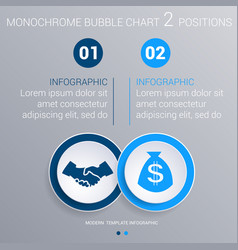 Monochrome blue bubbles chart infographics for 2 vector