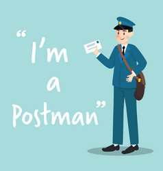 Postman character with letter on sky blue vector
