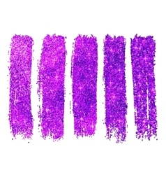 Purple shining glitter polish samples isolated on vector