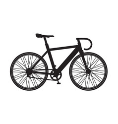 Silhouette bicycle mountain icon isolated on vector