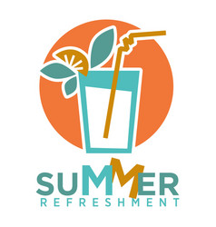 Summer refreshing cocktail with straw fruits and vector