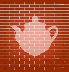 tea maker kitchen sign whitish icon on vector image vector image