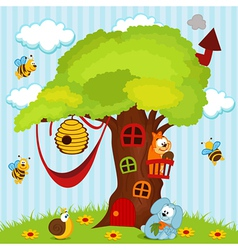 tree house with animals vector image