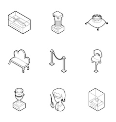 Walk in museum icons set outline style vector