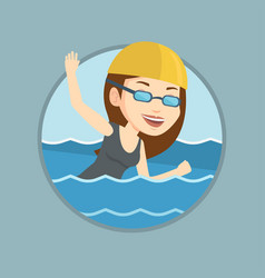 Woman swimming vector