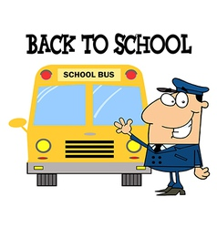 Driver In Front of School Bus vector image
