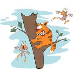 Cat on a tree and birds Cartoon vector image