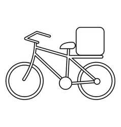 Pizza food delivery bicycle outline vector