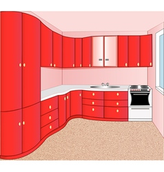Interior of the kitchen red vector