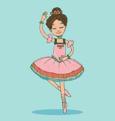 Beautiful brunette ballerina girl dancing vector