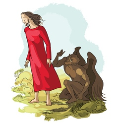 temptation of christ in the wilderness vector image