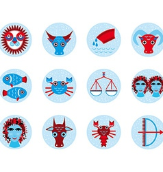 Funny blue zodiac sign icon set astrological vector