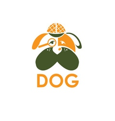 Dog in sherlock holmes hat design template vector
