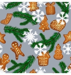 Christmas gingerbread seamless pattern vector