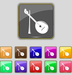 Balalaika icon sign set with eleven colored vector