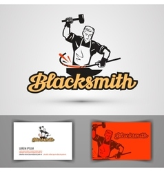 Blacksmith logo smithy or farrier forge vector