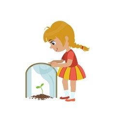 Girl protecting a sprout vector