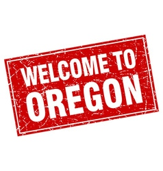 Oregon red square grunge welcome to stamp vector