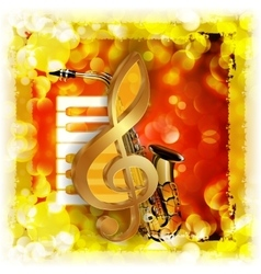 Treble clef with saxophone and piano bright vector