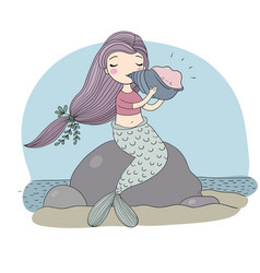 Beautiful little mermaid with seashell siren sea vector