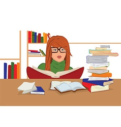 Cartoon young woman in glasses sitting and reading vector