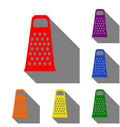 Cheese grater sign set of red orange yellow vector