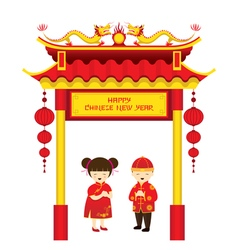 Chinese new year boy and girl and chinese gate vector