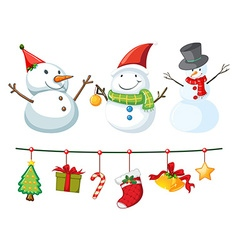 Christmas theme with snowman and ornaments vector