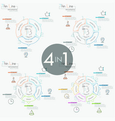 Collection of 4 infographic design templates in vector