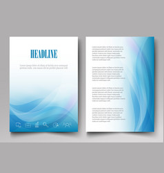 Design brochure template with blue waves on a vector